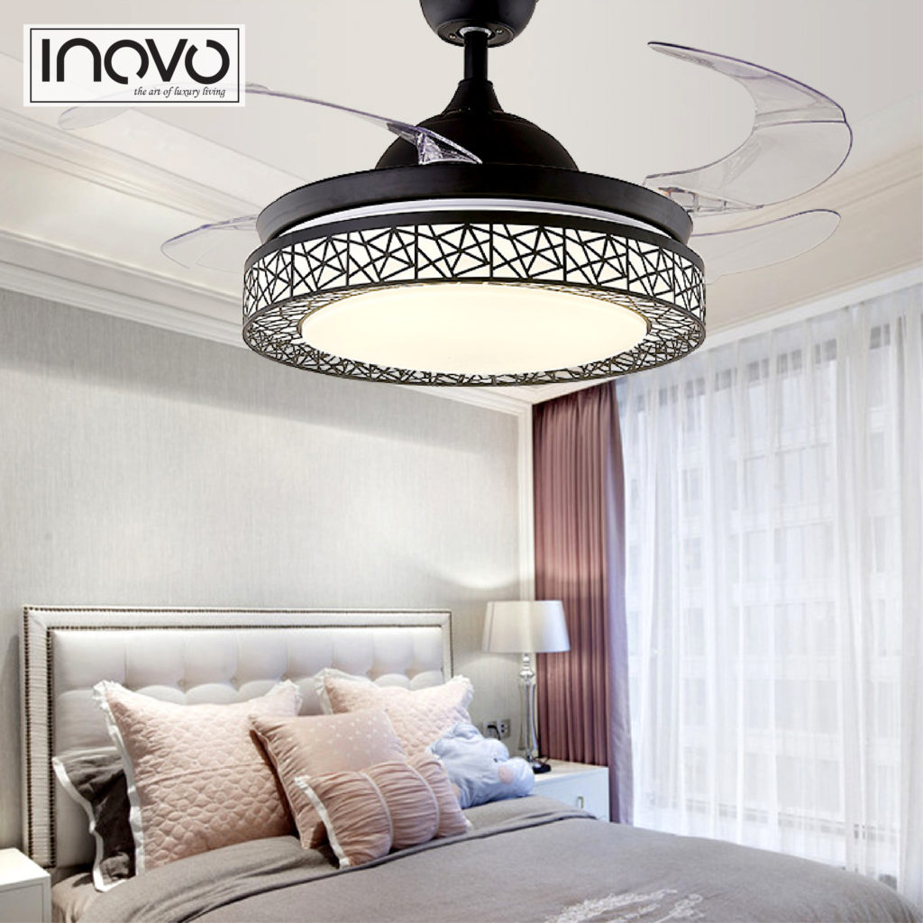 Inovo Lumi Hideaway Ceiling Fan Light In Black Lights Fans Without Energy Saving Is An Advanced With Unique Aesthetics And Efficient Design Switched Off The Traditionally Intrusive Blades