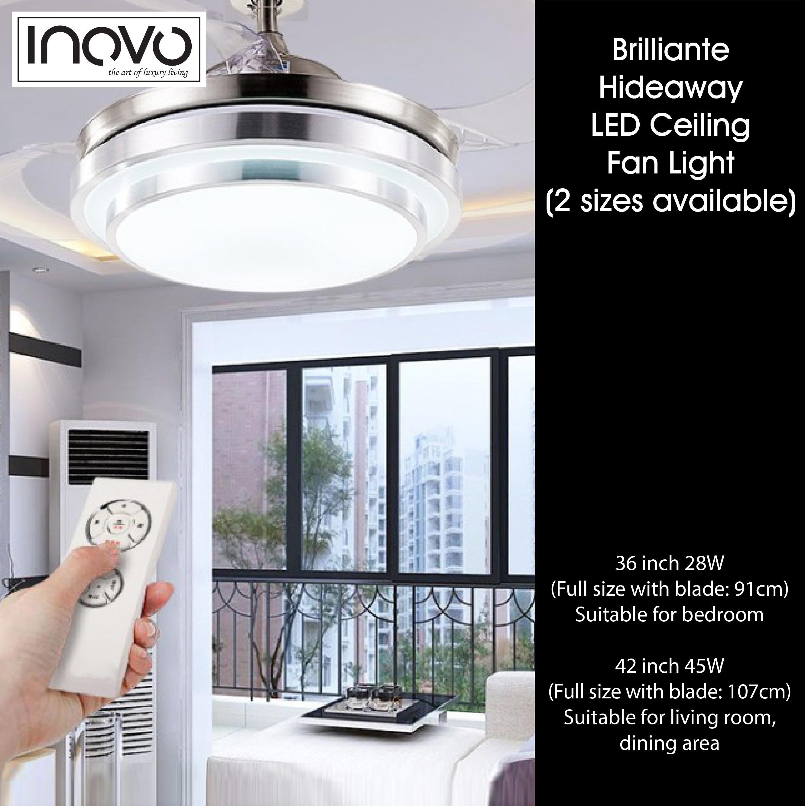 INOVO Brilliante Hideaway Ceiling Fan with LED Light – inovo