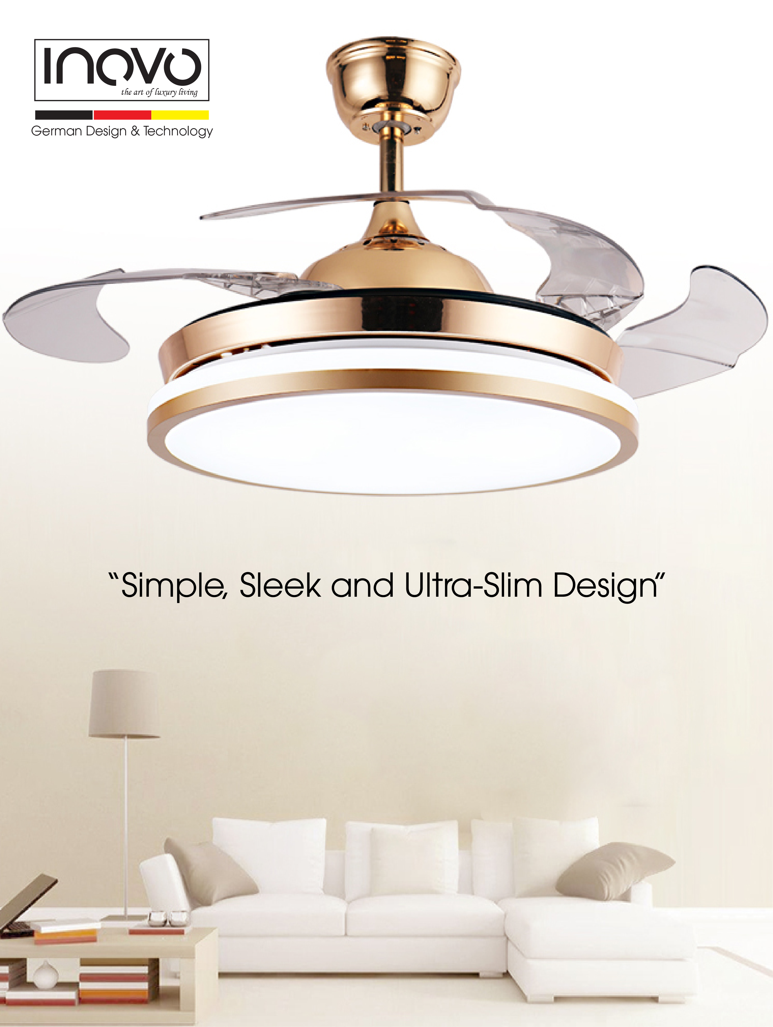 Inovo brilliante hideaway ceiling fan with led light in gold inovo inovo brilliante hideaway is an advanced ceiling fan with unique aesthetics and energy efficient design switched off the traditionally intrusive fan aloadofball Images