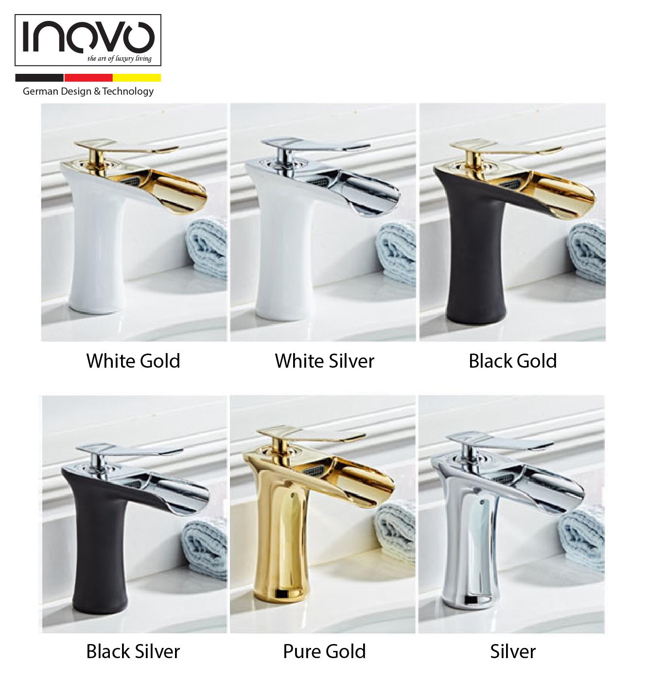 Inovo 174 L 252 Zerńe Bathroom Mixer Basin Tap In Black Gold Inovo